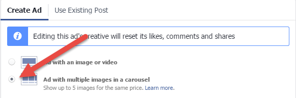 Multi unit ad on facebook