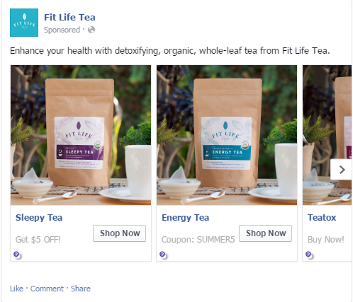 CTA on a multi product ad in Facebook