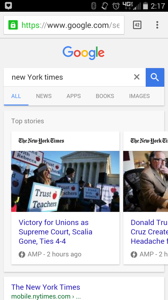 Accelerated Mobile Pages SERPS