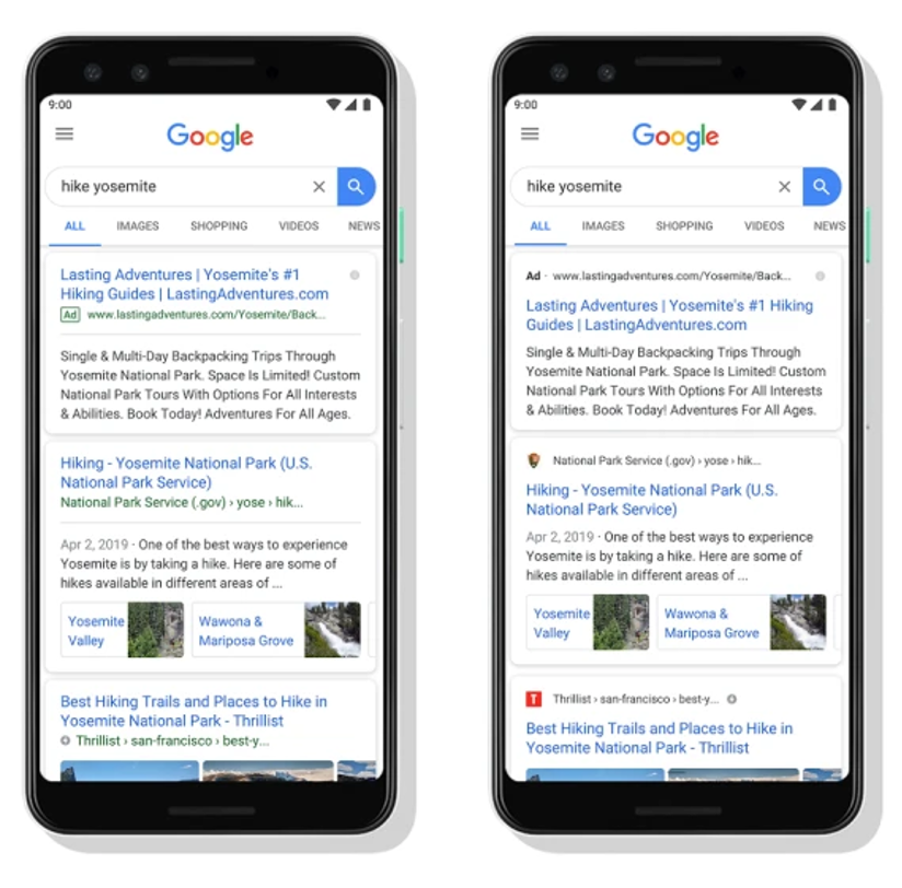 google updates for paid and organic search
